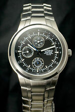 CASIO EDIFICE EF-305D-1 Men's 3 Dial Stainless Steel Black Watch & GIFT