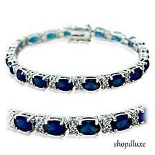 "13.0 CT OVAL CUT BLUE SAPPHIRE SPINEL CZ CUBIC ZIRCONIA 7"" TENNIS BRACELET"