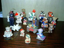 17 Lot Vintage Bear Ornaments Football Rocking Chair Wagon Ski Hinged Plus More