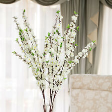 x4 Artificial White Cherry Blossom Flower Bouquet for Wedding Home Office Decor