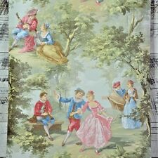 Vintage Victorian Lovers Toile Tan Green Pink Yellow Blue Cottage Chic Wallpaper