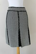 Womens Ann Taylor Black White Cotton Blend Closed Pleated Skirt 0 XS Houndstooth
