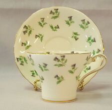 AYNSLEY Tea Cup Saucer Thistle St Patrick's Day Corset Shape