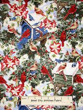 Amaryllis Cardinal Bird Snow Holiday Cotton Fabric David Textiles Christmas YARD