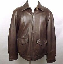 IZOD LEATHER Mens Leather Jacket Coat Size XL Bomber Full Zip Lined Soft Brown