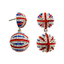 Butler and Wilson Crystal Union Jack Small Ball Drop Earrings BLACK FRIDAY £68