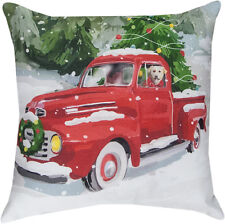 """Holiday Drive Dog in Truck Christmas Indoor/Outdoor 18"""" Toss Pillow ~Climaweave"""