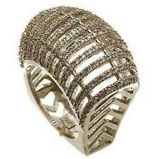 18K GOLD VERMEIL- Mesh Cubic Zirconia Dome Ring 925/SS-FLAWLESS ONLY 1 ON EBAY
