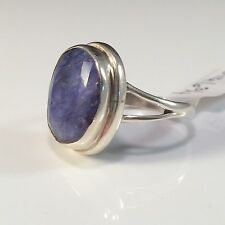 Natural Oval Blue Sapphire Ring Artisan Handmade 925 Sterling Silver Size 6.75