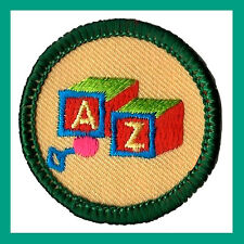 CARING FOR CHILDREN Junior Jade Girl Scout Badge Patch 2001 NEW Blocks Toddlers