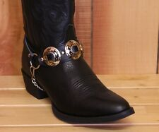 Black Leather Boot Chains with Large Nickel Plated Embossed Conchos