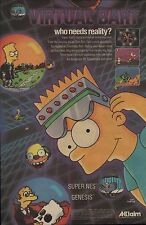 Vtg. 1994 Simpsons VIRTUAL BART Nintendo SNES Sega GENESIS video game print ad