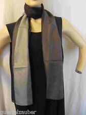 SEIDEN-SCHAL Streifen Schwarz-Grau SCARF SILK Stripes SEIDE Black-Grey