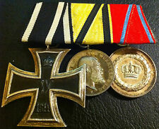 ✚6119✚ German WW1 mounted medal group Iron Cross Wurttemberg Merit Medal Service