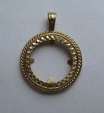 9ct Gold Half Sovereign Coin Pendant Mount 3g Hallmarked
