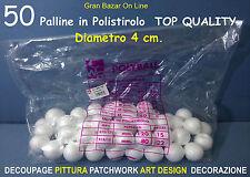 NATALE PALLINE SFERE POLISTIROLO 50 Pz 4 cm diam DECOUPAGE PITTURA DECORAZIONE