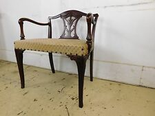 Vintage Solid Mahogany 18c Antique Style Carved Fancy X Wide Vanity Bench