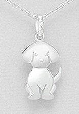 "1.1"" Solid Sterling Silver Adorable Labrador Puppy Pendant 2.2g"