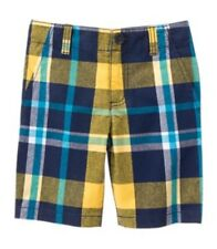 Gymboree Field Expedition Boys Shorts Size 5 Prep Fit Yellow Blue Nwt Plaid