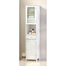 "BATHROOM LAKESIDE TALL 70 7/8"" WHITE WOOD STORAGE CABINET  BATH OR KITCHEN~15128"