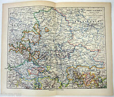 Vintage Original German Language Map of The Province of Saxony in 1900