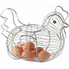 Hot Chrome Plated Chicken Hen Shaped Wire Egg Storage Display Basket Holder Rack