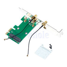 Wireless Network Wlan Wifi Card PCI-E to PCI-E1X Adapter Convertor &2 Antenna TW