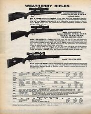 1984 WEATHERBY Varmintmaster, Mark V Deluxe & Custom RIFLE AD w/ specs & prices