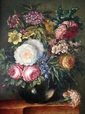 antique  original oil painting on the wooden panel Still life flowers signed