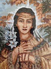 St. Kateri Tekakwitha Tapestry Wall Hanging Woven In Italy