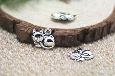 30pcs Cat charm Antique Tibetan Silver Simply Adorable Cat pendants 14x14mm