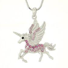 UNICORN W Swarovski Crystal Flying Pegasus Horse Gift New Pendant Pink Necklace