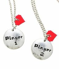 Blackheart PLAYER 1 & PLAYER 2 BFF PENDANT NECKLACE SET Best Friends Bestie NEW