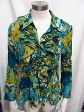 Sunny Leigh size XL blue / gold floral ruffle front 3/4 sleeve Blouse