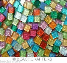 100 tiles - 3/8 inch MIXED COLORS GLITTER Glass Mosaic Tiles