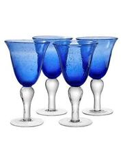 ARTLAND IRIS WINE GOBLET BUBBLE GLASSES HAND CRAFTED COBALT BLUE - SET OF 4 -NEW