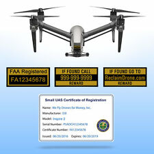 Drone FAA UAS Certificate of Registration ID Card + Label set - Commercial Pilot