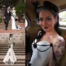 Black & White Mermaid Victoria Wedding Dresses Appliques Beading Bridal Dress+