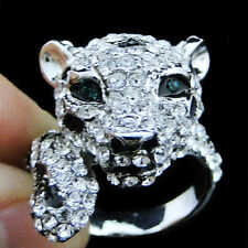 Leopard Panther Animal Cocktail Ring Clear Rhinestone Crystal Glitzy Sz 8