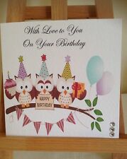 Handmade Personalised Owl Birthday Card
