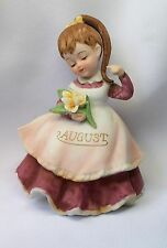 VTG GEORGE LEFTON JAPAN AUGUST BIRTHDAY GIRL FIGURINE YELLOW ROSES BROWN HAIR