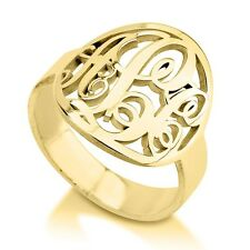 Personalized Framed Monogram Ring - 24k Gold Plated Handmade Initial Ring