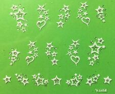Nail Art 3D Decal Stickers Hearts & Stars with Rhinestones Y004