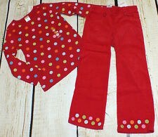 NWT 4T Gymboree Cozy Cutie polka dot top & red embroidered corduroy pants set