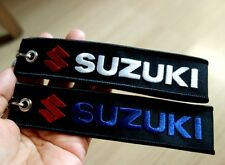 2 SUZUKI Keychain Embroidered Fabric Strap Key ring Holder Car Motorcycle Bike
