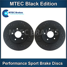 BMW E46 Saloon 325i 00-05 Front Brake Discs Drilled Grooved Mtec Black Edition