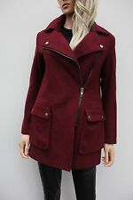 Asos Petite Casual Red Wool Textured Biker Zipped Jacket Coat Size 6 32 US 2 New