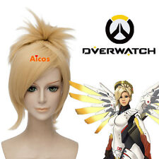 Overwatch OW Mercy Angela Ziegler Cosplay Wig Short Pale Blonde Clip Ponytail