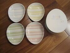 WILLIAMS SONOMA 2003 Easter Egg Snack Plates Striped Pastel Colors Set of 8 NEW