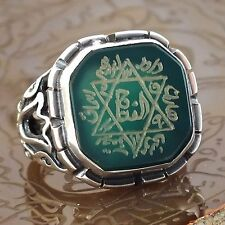 Seal of Solomon Talisman Ring Sterling Silver Green Onyx Handcrafted unique